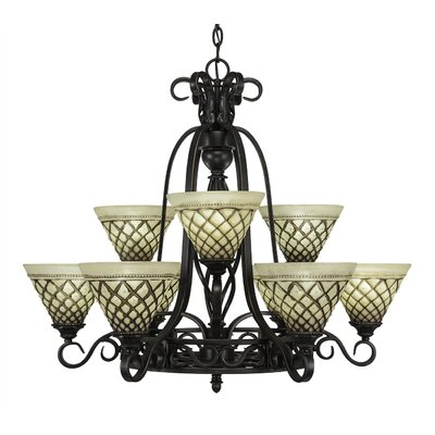 Elegante 9-Light Shaded Chandelier