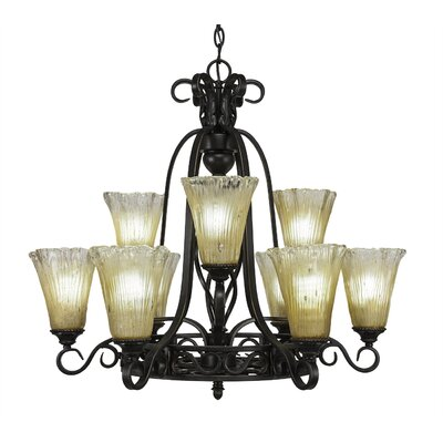 Elegante 9-Light Shaded Chandelier Shade Color: Amber