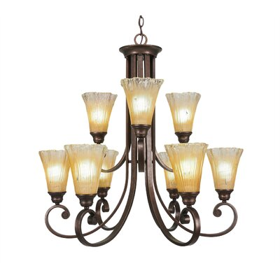 Babin 9-Light Shaded Chandelier Shade Color: Amber