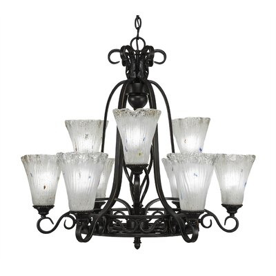 Elegante 9-Light Shaded Chandelier Shade Color: Frosted