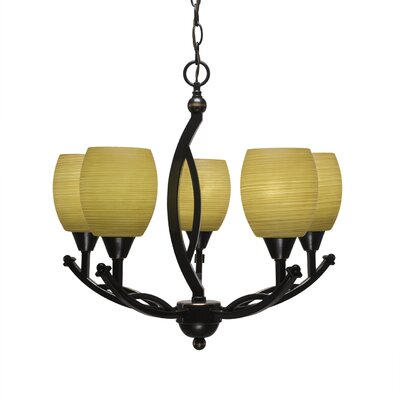 Blankenship 5-Light  Adjustable Height Shaded Chandelier Shade Color: Cayenne