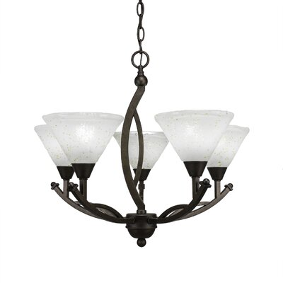 Blankenship 5-Light Glass Shaded Chandelier