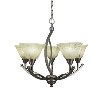 Blankenship 5-Light Brushed Nickel Glass Shaded Chandelier