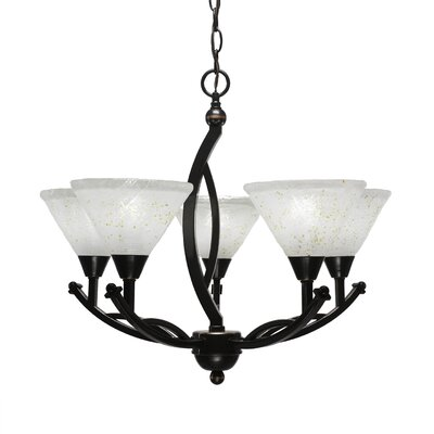 Blankenship 5-Light Black Copper Shaded Chandelier