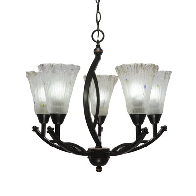 Bow 5-Light Shaded Chandelier Shade Color: Frosted