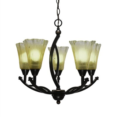 Bow 5-Light Shaded Chandelier Shade Color: Amber