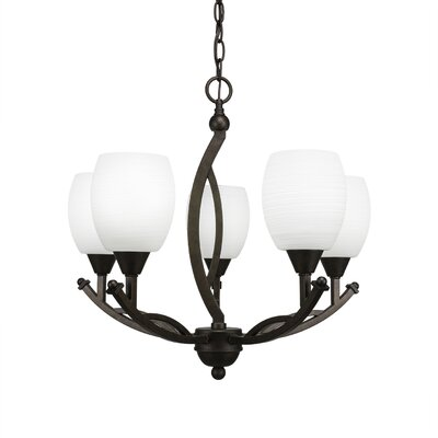 Blankenship 5-Light Bronze Shaded Chandelier Shade Color: White