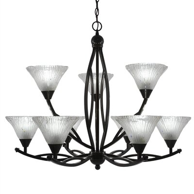 Bow 9-Light Shaded Chandelier Finish: Black Copper, Shade: Frosted Crystal Glass Shade