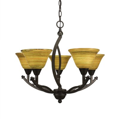 Blankenship 5-Light 60W Glass Shaded Chandelier