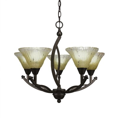 Bow 5-Light Shaded Chandelier Shade Color: Frosted, Size: 20.25 H x 22 W