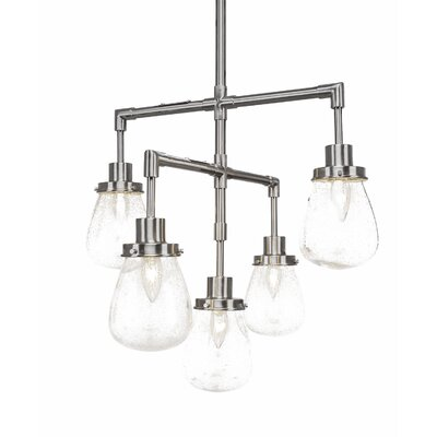 Meridian 5-Light Sputnik Chandelier Finish: Brushed Nickel, Shade Color: Clear