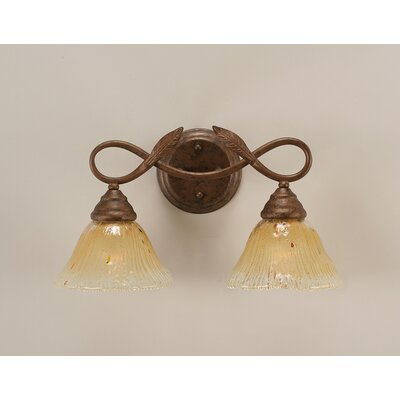 Toltec Lighting Bow 2 Light Bathroom Bar with Italian Ice Glass ...