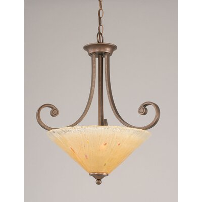 Babin 3-Light Uplight Inverted Pendant Shade Color: Amber Crystal Glass