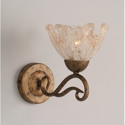Olde Iron Wall Sconce with Italian Ice Glass Shade