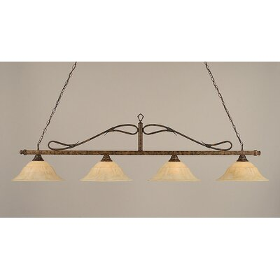 4-Light Wrought Iron Rope Kitchen Island Pendant Finish: Bronze