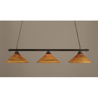 3-Light Square Kitchen Island Pendant Finish: Black Copper