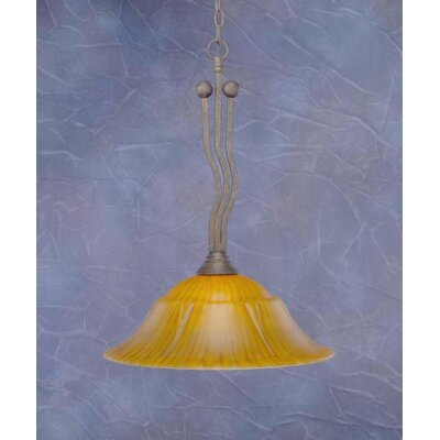 Wave 1-Light Downlight Pendant Finish: Bronze, Shade Color: Tiger Glass