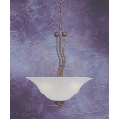 Wave 3-Light Uplight Inverted Pendant Finish: Brushed Nickel, Shade Color: White Marble Glass