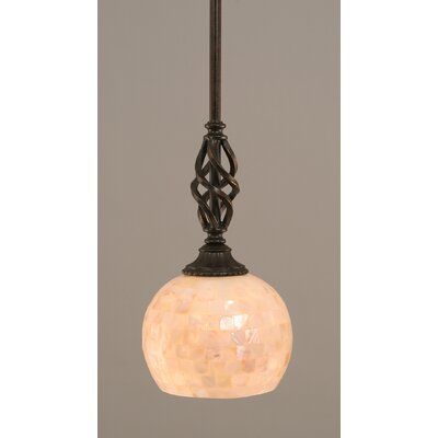 Weathers Mini Pendant With Hang Straight Swivel Shade Color: Seashell Glass - Light, Size: 6