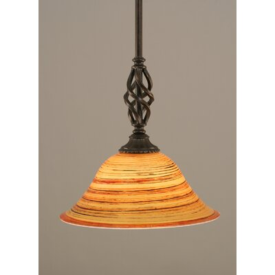 Weathers Mini Pendant With Hang Straight Swivel Shade Color: Firr� Saturn Glass, Size: 10 W