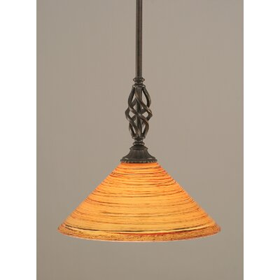 Weathers Mini Pendant With Hang Straight Swivel Shade Color: Firr� Saturn Glass, Size: 12 W