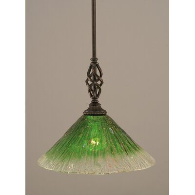 Weathers Mini Pendant With Hang Straight Swivel Shade Color: Kiwi Green Crystal Glass, Size: 12 W