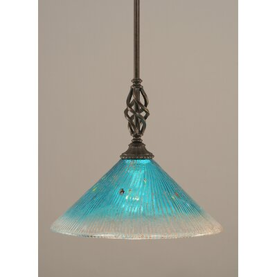 Weathers Mini Pendant With Hang Straight Swivel Shade Color: Teal Crystal Glass, Size: 10 W