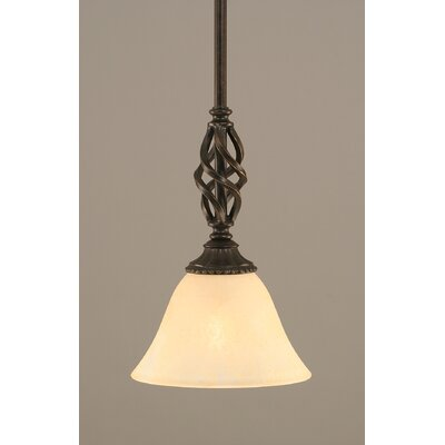 Weathers Mini Pendant With Hang Straight Swivel Shade Color: Amber Marble Glass, Size: 7 W