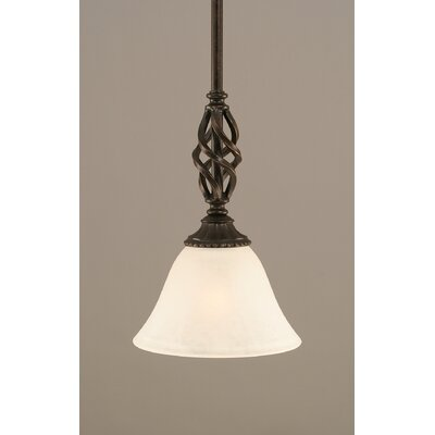 Elegant� Mini Pendant With Hang Straight Swivel Size: 7 W, Shade Color: White Marble Glass