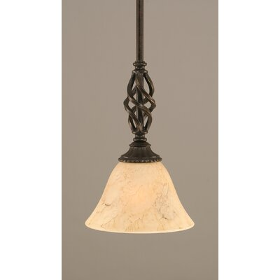 Weathers Mini Pendant With Hang Straight Swivel Shade Color: Italian Marble Glass, Size: 7 W