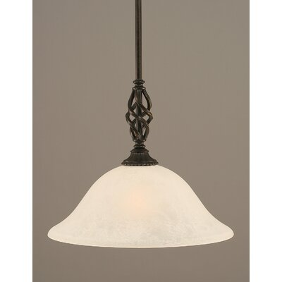 Weathers Mini Pendant With Hang Straight Swivel Shade Color: White Marble Glass, Size: 10 W