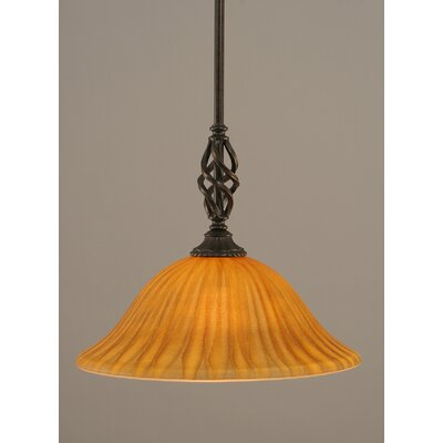 Weathers Mini Pendant With Hang Straight Swivel Shade Color: Tiger Glass, Size: 10 W