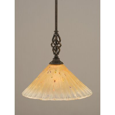Weathers Mini Pendant With Hang Straight Swivel Shade Color: Amber Crystal Glass, Size: 12 W