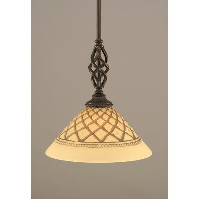 Weathers Mini Pendant With Hang Straight Swivel Shade Color: Chocolate Icing Glass, Size: 10 W