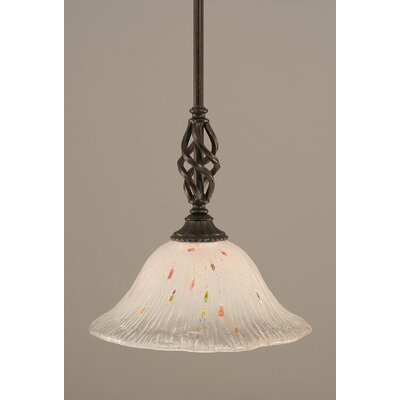 Weathers Mini Pendant With Hang Straight Swivel Shade Color: Frosted Crystal Glass, Size: 10 W