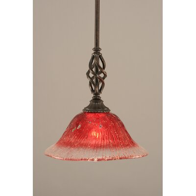 Weathers Mini Pendant With Hang Straight Swivel Shade Color: Raspberry Crystal Glass, Size: 10 W