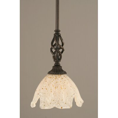 Weathers Mini Pendant With Hang Straight Swivel Shade Color: Gold Ice Glass, Size: 7 W