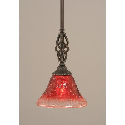 Weathers Mini Pendant With Hang Straight Swivel Shade Color: Raspberry Crystal Glass, Size: 7 W