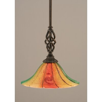 Weathers Mini Pendant With Hang Straight Swivel Shade Color: Mardi Grass Glass, Size: 10 W