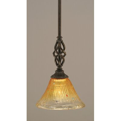 Elegant� Mini Pendant With Hang Straight Swivel Size: 7 W, Shade Color: Gold Champagne Crystal Glass