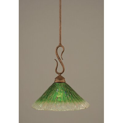 Swan 1-Light Mini Pendant Finish: Bronze, Shade Color: Kiwi Green Crystal Glass, Size: 12 W