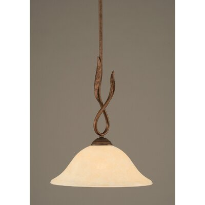 Leaf 1-Light Mini Pendant Finish: Bronze, Glass Color: 12 Amber Marble