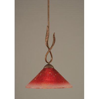 Leaf 1-Light Mini Pendant Finish: Bronze, Glass Color: 12 Raspberry