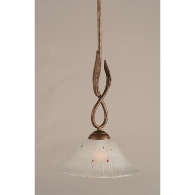 Leaf 1-Light Mini Pendant Finish: Bronze, Glass Color: 10 Frosted