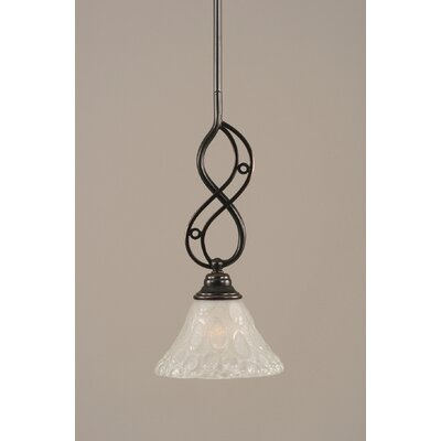 Jazz Mini Pendant With Hang Straight Swivel Finish: Black Copper, Shade Color: Firr� Saturn Glass, Size: 12 W