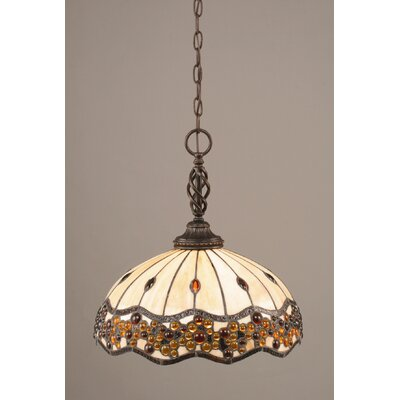 Elegant� 1-Light Pendant Shade Color: Italian Roman Jewel Tiffany Glass