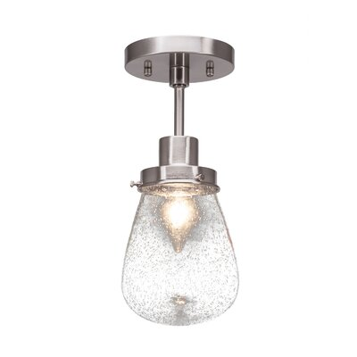 Meridian 1-Light Semi Flush Mount Fixture Finish: Brushed Nickel, Shade Color: White