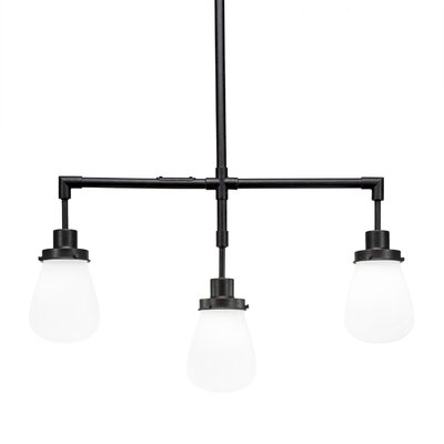 Meridian 3-Light Kitchen Island Pendant Finish: Dark Granite, Shade Color: White