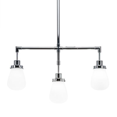 Meridian 3-Light Kitchen Island Pendant Finish: Chrome, Shade Color: Clear