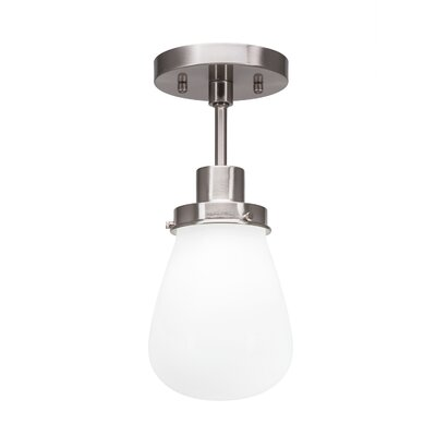 Meridian 1-Light Semi Flush Mount Fixture Finish: Brushed Nickel, Shade Color: Clear
